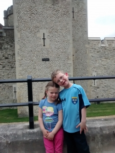 Liesl and Isaac outside Tower of London